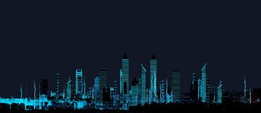 Cityscape futuristic 3d city neon light. Render hologram futuristic 3d city neon light. Rendering. 3D Illustration. Cityscape Royalty Free Stock Photo