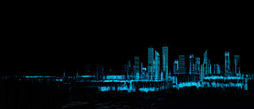 Cityscape futuristic 3d city neon light. Render hologram futuristic 3d city neon light. Rendering. 3D Illustration. Cityscape Royalty Free Stock Photography