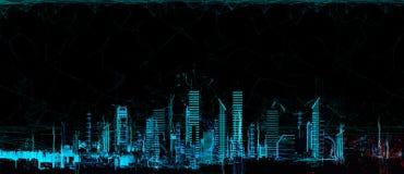 Cityscape futuristisch 3d stadsneonlicht vector illustratie