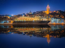 Cityscape with Galata Tower, Golden Horn and ferry Royalty Free Stock Image