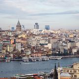 Cityscape with Galata Tower and Gulf of the Golden Horn. Composition of the colorful buildings with Galata Tower. Istanbul, Turkey stock image