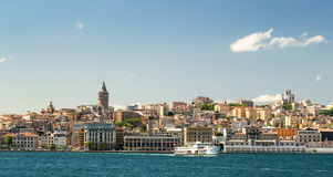 Cityscape with Galata Tower over the Golden Horn in Istanbul. Turkey stock image
