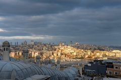 Cityscape with Galata Tower seen from Suleymaniye Mosque royalty free stock images