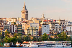 Cityscape with Galata Tower at sunset in Istanbul Stock Photos