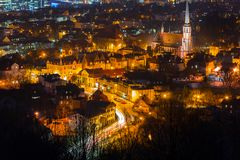 Cityscape of Gdansk Oliwa at night from the hill. Poland Royalty Free Stock Image
