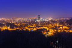 Cityscape of Gdansk Oliwa at night from the hill. Poland Stock Photo