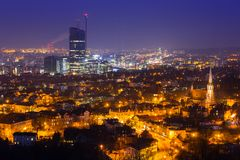 Cityscape of Gdansk Oliwa at night from the hill. Poland Stock Photography