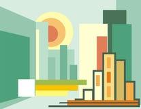 Cityscape Geïllustreerdeg Achtergrond stock illustratie