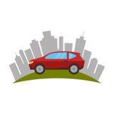 cityscape gebouwen en auto geïsoleerd pictogram royalty-vrije illustratie
