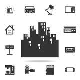 cityscape gebouwen geïsoleerd pictogram Gedetailleerde reeks Webpictogrammen Het grafische ontwerp van de premiekwaliteit Één van royalty-vrije illustratie