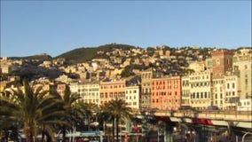 Cityscape of Genoa stock video