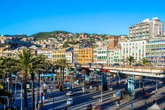 Cityscape of Genoa view from the port Royalty Free Stock Photography