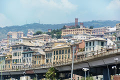 Cityscape of Genova, panoramic view  from above Royalty Free Stock Images