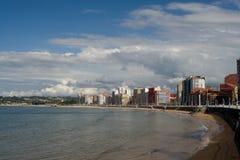 Cityscape from Gijon. Spain with ocean Stock Photos