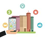 Cityscape with gps service. Illustration design Stock Photos