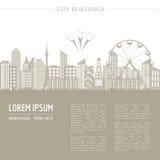 Cityscape grafisch malplaatje Moderne stadsarchitectuur Zieke vector vector illustratie