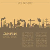 Cityscape graphic template. Industry city buildings. Stock Photos