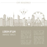 Cityscape graphic template. Modern city architecture. Vector ill Stock Photos