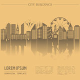 Cityscape graphic template. Modern city architecture. Vector ill Stock Photography