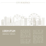 Cityscape graphic template. Modern city architecture. Vector ill. Ustration with different modern city buildings, such as office buildings, skyscrapers, houses Royalty Free Stock Photos