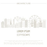 Cityscape graphic template. Modern city architecture.  Royalty Free Stock Images