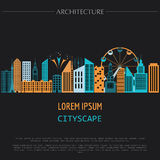 Cityscape graphic template. Modern city architecture.. Vector illustration with different modern city buildings, such as office buildings, skyscrapers, houses Royalty Free Stock Photo