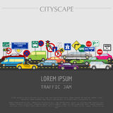 Cityscape graphic template. Modern city. Vector illustration. Tr Stock Image