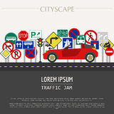 Cityscape graphic template. Modern city. Vector illustration. Tr Stock Photo