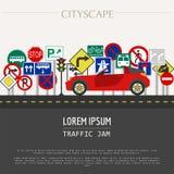 Cityscape graphic template. Modern city. Vector illustration. Tr stock illustration