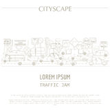 Cityscape graphic template. Modern city. Vector illustration. stock illustration