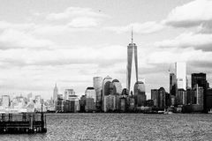 Cityscape in Grayscale Photography Stock Images