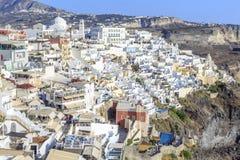 Cityscape of Greek town Thira in Santorini island, Greece Royalty Free Stock Photos
