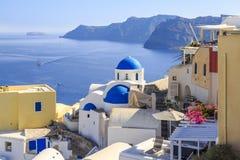 Cityscape of greek village Oia in Santorini, Greece Stock Photo