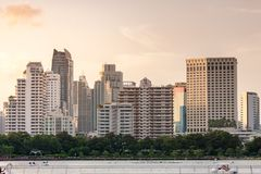 Group of high-rise buildings on downtown Sukhumvit Rd, Stock Photo
