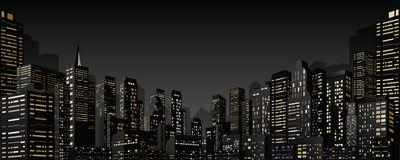 Cityscape with Group of Skyscrapers. Vector Banner Stock Images