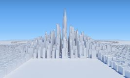 Cityscape group white skycrapers with field. 3d rendering Royalty Free Stock Photo