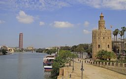 The cityscape with Guadalquivir river in Seville,. Spain royalty free stock images