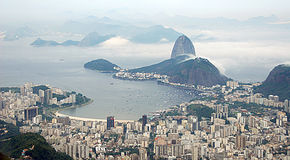 Cityscape of Guanabara Bay royalty free stock photo