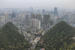 Cityscape of Guiyang at noon, Guizhou Province, China. stock photography