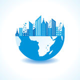 Cityscape on half earth Royalty Free Stock Images