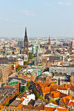 Cityscape of Hamburg from the famous tower Michaelis Stock Photography