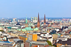 Cityscape of Hamburg from the famous tower Michaelis Royalty Free Stock Photography