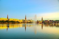 Cityscape of Hamburg, Germany. In the evening stock images