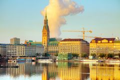 Cityscape of Hamburg, Germany. In the morning Royalty Free Stock Image