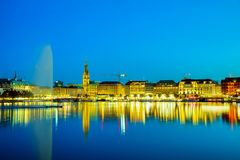 Cityscape of Hamburg, Germany. At the night time Stock Photography
