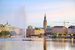 Cityscape of Hamburg, Germany. In the evening Royalty Free Stock Photo