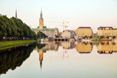Cityscape of Hamburg, Germany. In the morning royalty free stock photo