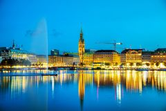 Cityscape of Hamburg, Germany. At the night time royalty free stock image