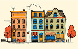 Cityscape. Hand-drawn detailed linear cityscape with different townhouses, old town street with building facades ink pen line illustration. Good for graphic, web stock illustration