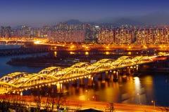 Cityscape of Hangang bridge in korea. Royalty Free Stock Photos